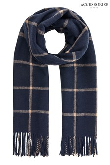 Accessorize Blue Carter Window Pane Check Blanket