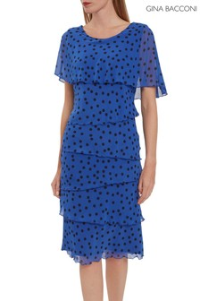 Gina Bacconi Blue Evanna Spot Chiffon Dress