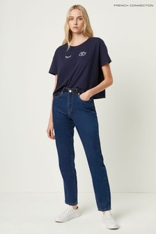 French Connection Blue Leona Denim High Waist Straight Leg Jeans