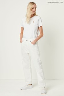 French Connection White Fitz Denim True Boyfriend Jeans