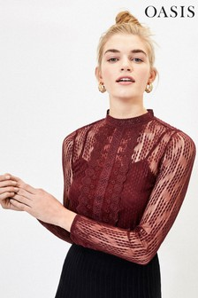Oasis Red Lace Mesh Top