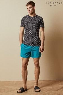 Ted Baker Blue Cheef Plain Swim Shorts With Back Pocket