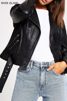 River Island Black Sonia Premium Leather Biker Jacket