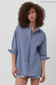 French Connection Blue Reta Check Pop Over Shirt