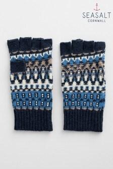 Seasalt Blue Coppicing Fingerless Gloves
