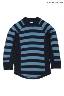 Polarn O. Pyret Blue Striped Thermal Top