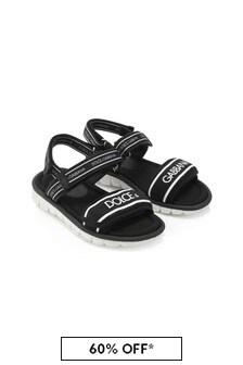 Dolce & Gabbana Kids Black Leather Sandals