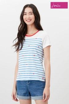 Joules Cream Carley Print Classic Crew T-Shirt
