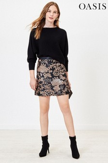 Oasis Black Jacquard Mini Skirt