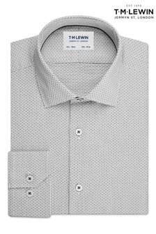 T.M. Lewin Olive Dobby Check Slim Fit Single Cuff Shirt