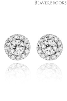 Beaverbrooks 9ct White Gold Cubic Zirconia Halo Stud Earrings