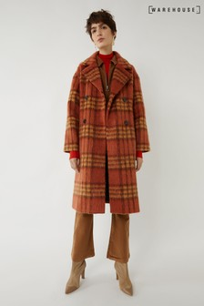 Warehouse Rust Check Double Belted Coat