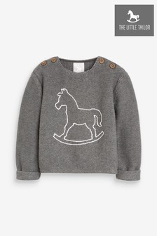 The Little Tailor Charcoal Grey Button Rocking Horse Baby Knit Jumper