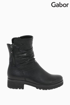 Gabor Zola Black Leather Fashion Ankle Boots
