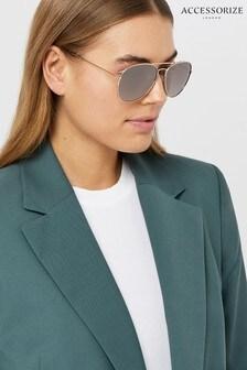 Accessorize Gold Chantal Aviator Sunglasses