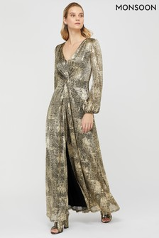 Monsoon Ladies Gold Vanessa Twist Maxi Dress