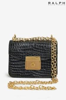 Ralph Lauren Black Moc Croc Leather Heritage Shoulder Bag