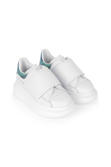 Kids White & Gold Leather Trainers