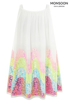 Monsoon White Sophia Sequin Dress