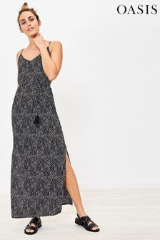 Oasis Black Spot Maxi Dress