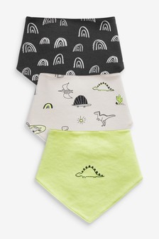 3 Pack Dinosaur Rainbow Dribble Bibs