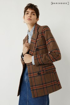 Warehouse Brown Relaxed Check Blazer Coat