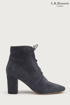L.K.Bennett Grey Lira Lace-Up Ankle Boots