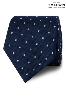 T.M. Lewin Navy/White Textured Spot Silk Tie