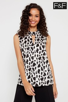 F&F Multi Non Print Cow Choker Top