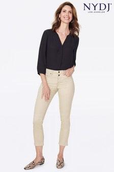 Бежевые укороченные джинсы зауженного кроя NYDJ Sheri