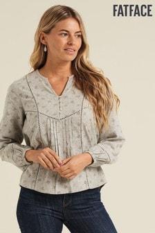 FatFace Grey Pippa Marl Popover Shirt