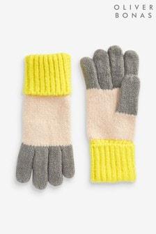 Żółte dzianinowe rękawiczki w bloki kolorów Oliver Bonas