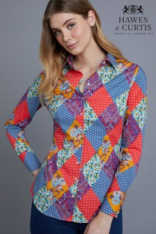 Hawes & Curtis Red Harlequin Paisley Pattern Fitted Shirt