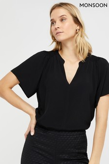 Monsoon Black Arabella Blouse