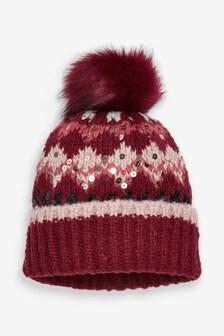 Fairisle Print Pom Hat