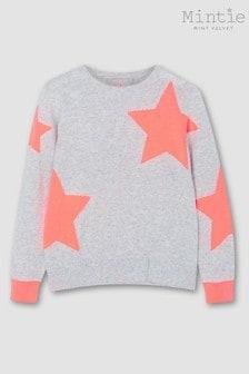 Mintie by Mint Velvet Grey Neon Orange Star Jumper