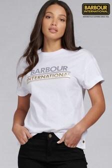Barbour® International Metallic Logo Boxy Fit Sitka T-Shirt