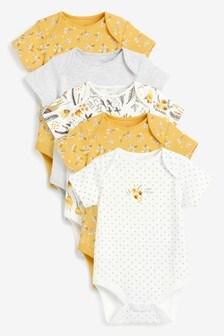 5 Pack Ochre Floral Short Sleeve Bodysuits (0mths-3yrs)