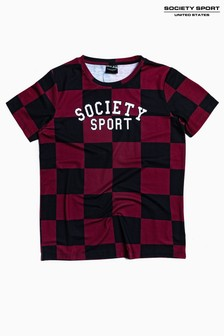 Society Sport Kids Burgundy Checkerboard T-Shirt