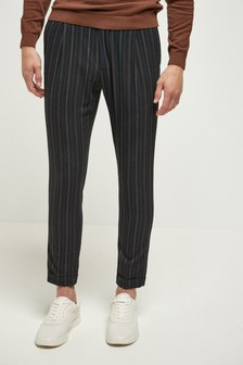 Stripe Pleated Slim Tapered Fit Trousers