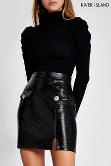 River Island Black Vinyl Edna Mini Skirt