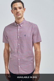 Stretch Gingham Short Sleeve Shirt