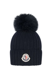 Kids Navy Wool Hat With Pom Pom