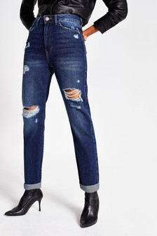 River Island Dark Auth Mom Sheeran Jeans