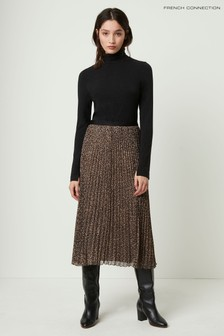French Connection Brown Brunella Crinkle Plaited Midi Skirt