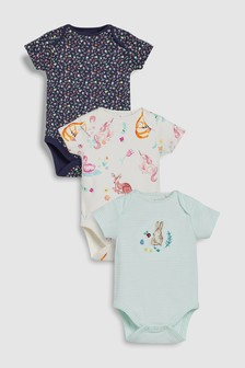 Embroidered Bunny Short Sleeve Bodysuits Three Pack (0mths-2yrs)
