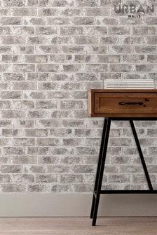 Urban Walls Grey Warehouse Brick Wallpaper