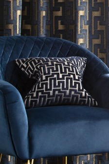 Fretwork Velvet Small Square Cushion