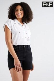 F&F Black Mom Shorts