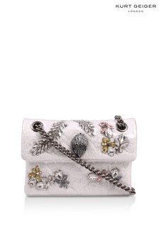 Kurt Geiger London White Tweed Mini Kensington X Fabric Bag